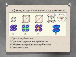 1-Простая кубическая 2-Гранецентрированная кубическая 3-Объёмно-ценрированная