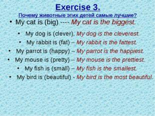 Exercise 3. Почему животные этих детей самые лучшие? My cat is (big) ---- My
