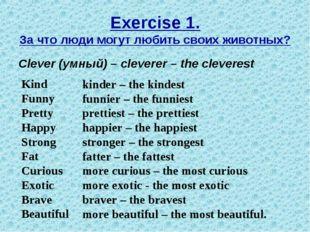 Exercise 1. За что люди могут любить своих животных? Clever (умный) – clevere