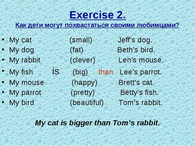 Exercise 2. Как дети могут похвастаться своими любимцами? My cat (small) Jeff...