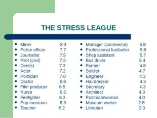 THE STRESS LEAGUE Miner 8.3 Police officer 7.7 Journalist 7.5 Pilot (civil) 7