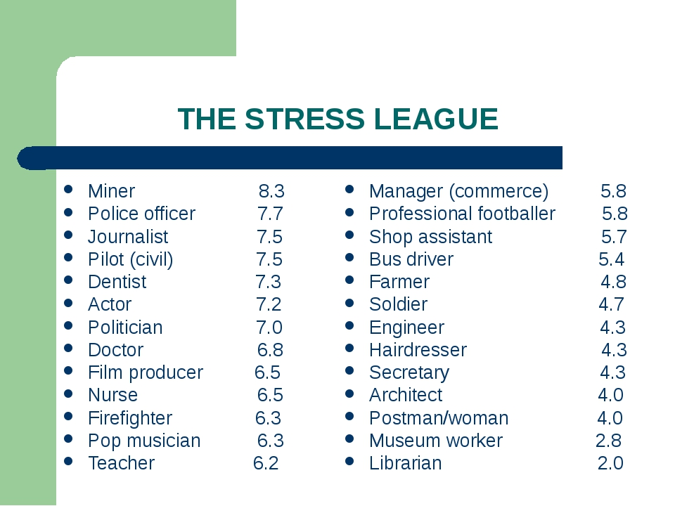 THE STRESS LEAGUE Miner 8.3 Police officer 7.7 Journalist 7.5 Pilot (civil) 7...