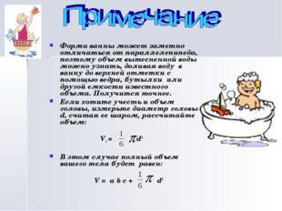 Форма ванны может заметно отличаться от параллелепипеда, поэтому объем вытес