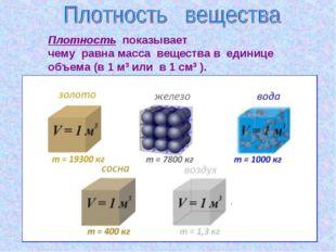 Плотность показывает чему равна масса вещества в единице объема (в 1 м3 или в