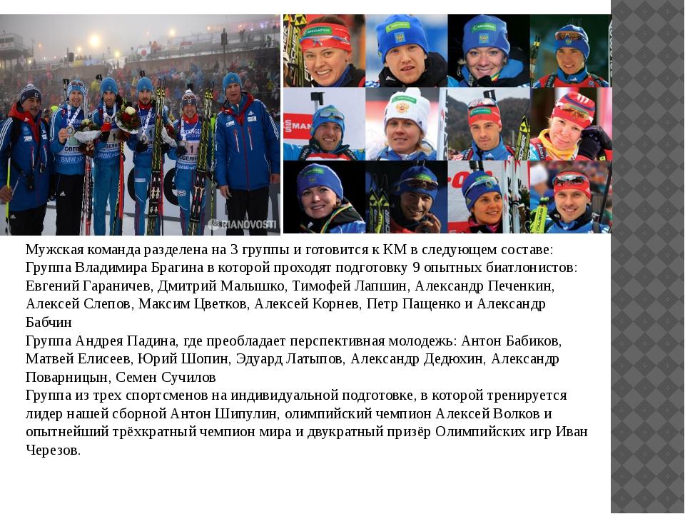 Мужская команда разделена на 3 группы и готовится к КМ в следующем составе:...