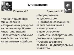 Пути развития Сталин И.В. Бухарин Н.И. Концентрация всех финансовых и материа