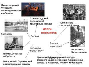 Итоги пятилеток Первая пятилетка 1928-1932гг. Вторая пятилетка 1933-1937гг.
