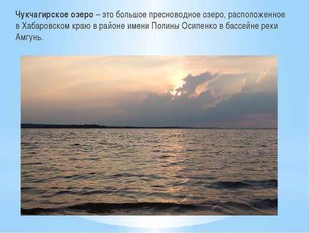 Чукчагирское озеро – это большое пресноводное озеро, расположенное в Хабаровс...