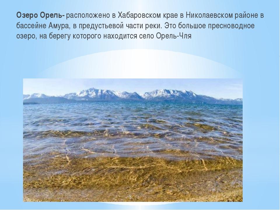 Озеро Орель- расположено в Хабаровском крае в Николаевском районе в бассейне...