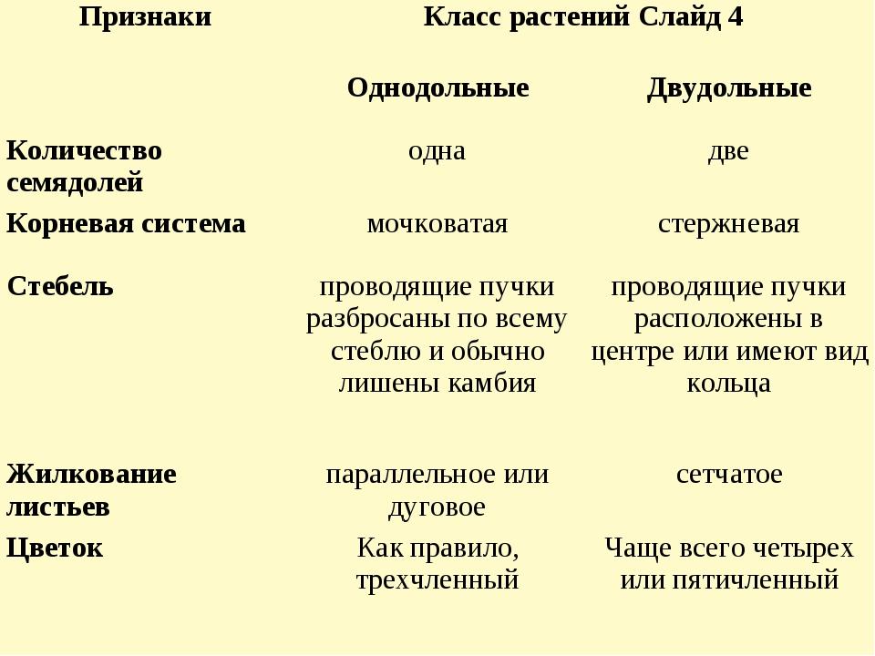 ПризнакиКласс растений Слайд 4 ОднодольныеДвудольные Количество семядолей...