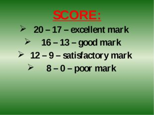 SCORE: 20 – 17 – excellent mark 16 – 13 – good mark 12 – 9 – satisfactory mar