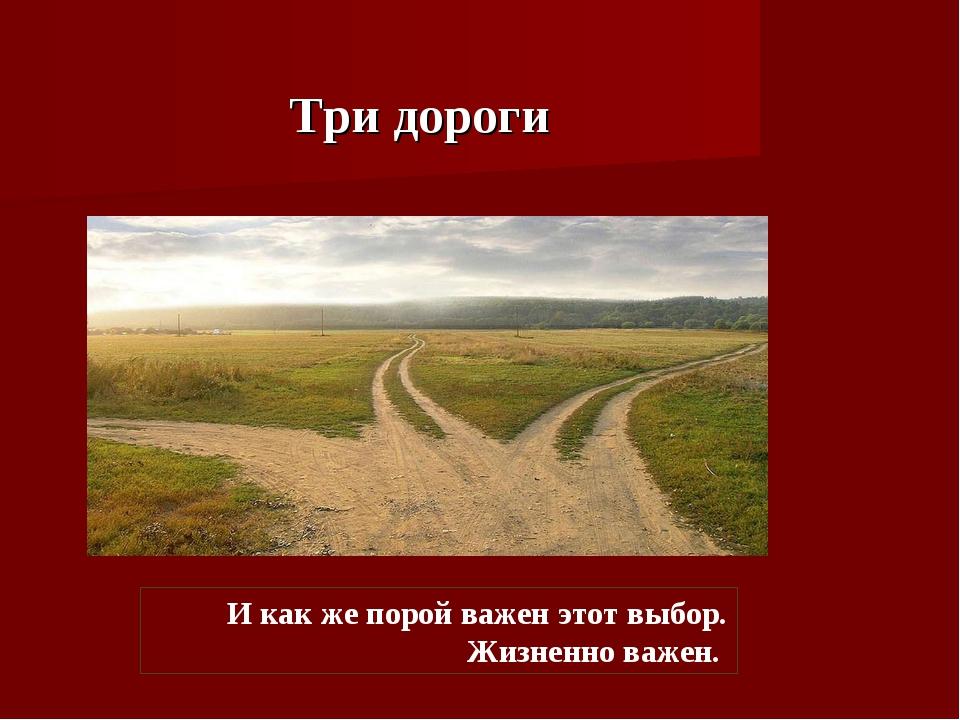 Три дороги И как же порой важен этот выбор. Жизненно важен.