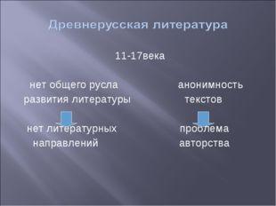 11-17века нет общего русла анонимность развития литературы текстов нет литера