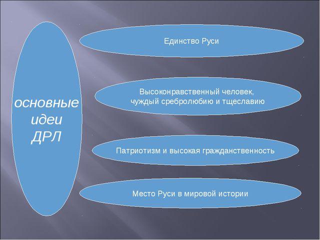 основные идеи ДРЛ Единство Руси Высоконравственный человек, чуждый сребролюби...