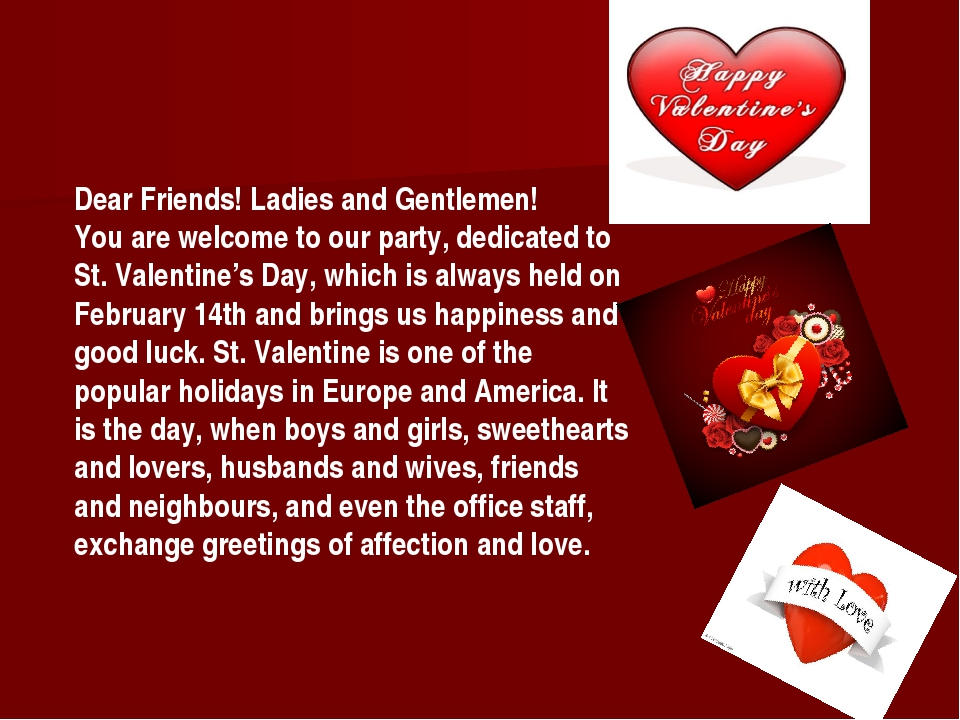Dear Friends! Ladies and Gentlemen! You are welcome to our party, dedicated t...