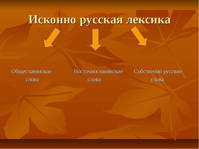 Исконно русская лексика Общеславянские Восточнославянские Собственно русские...