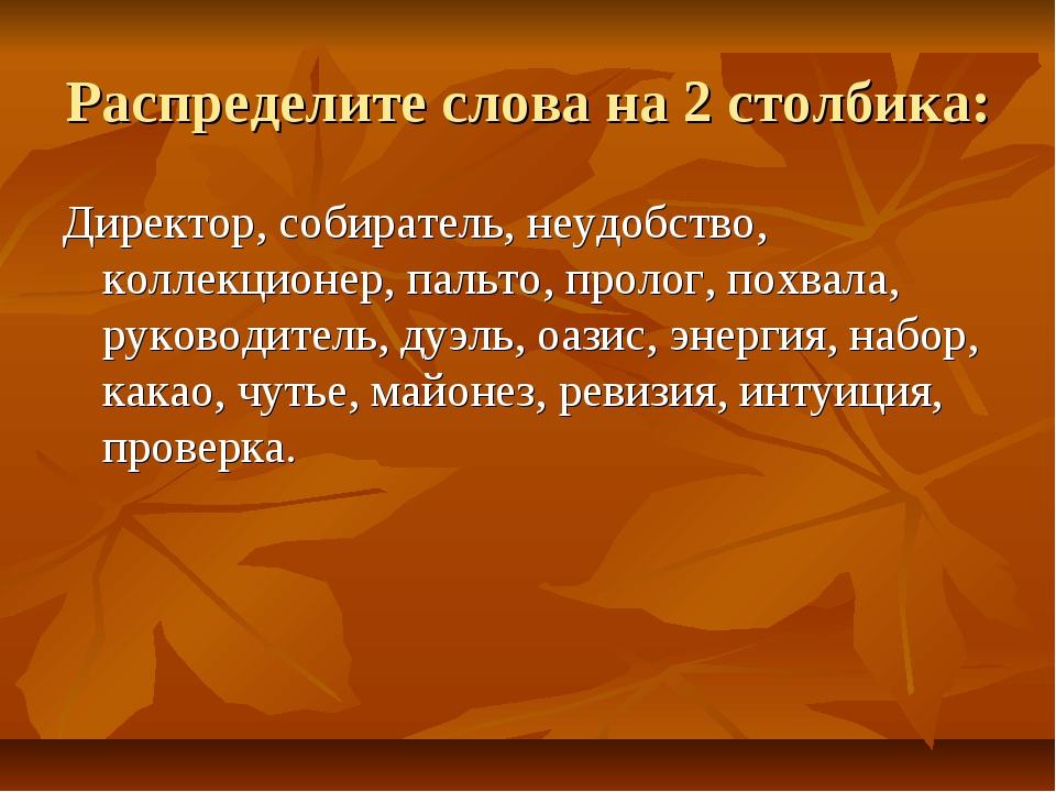 Распределите слова на 2 столбика: Директор, собиратель, неудобство, коллекцио...