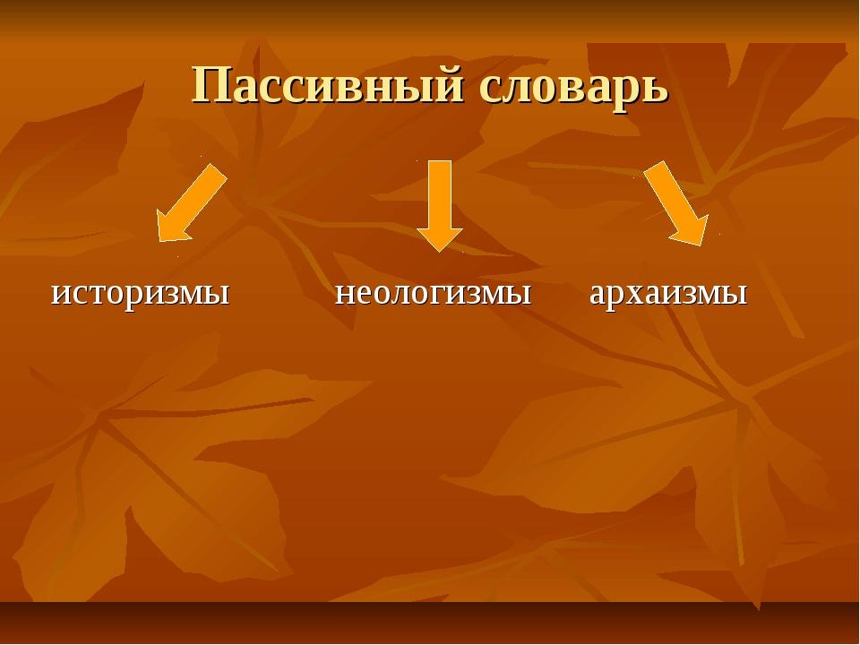 Пассивный словарь историзмы неологизмы архаизмы