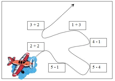 Провести самолёт по его намеченному пути, решив числовые выражения.