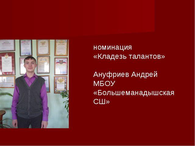 номинация «Кладезь талантов» Ануфриев Андрей МБОУ «Большеманадышская СШ»