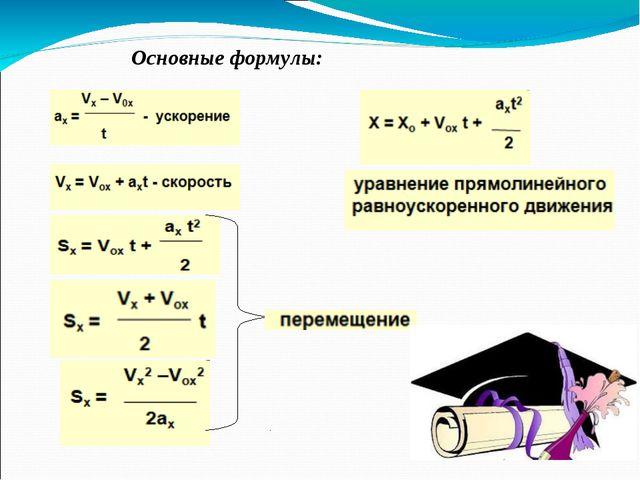 Основные формулы: