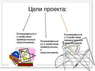 Цели проекта: Познакомиться с 1 свойством прямоугольных треугольников. Познак