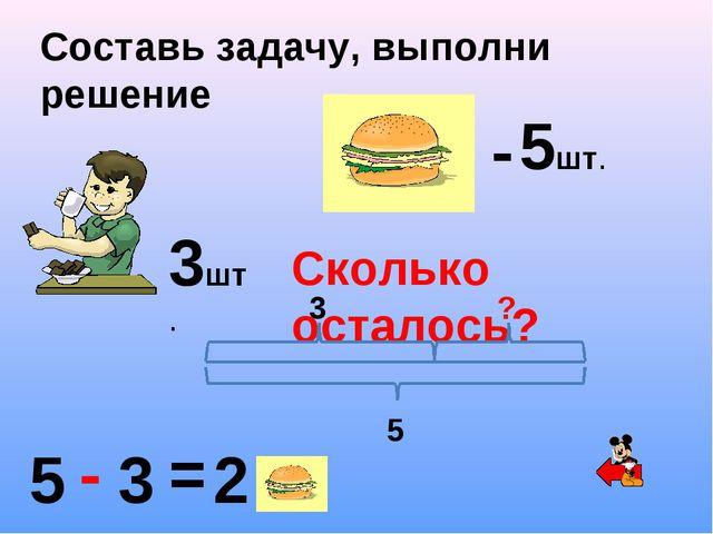 Составь задачу, выполни решение - 5шт. Сколько осталось? 3шт. 5 - 3 = 2 5 3 ?