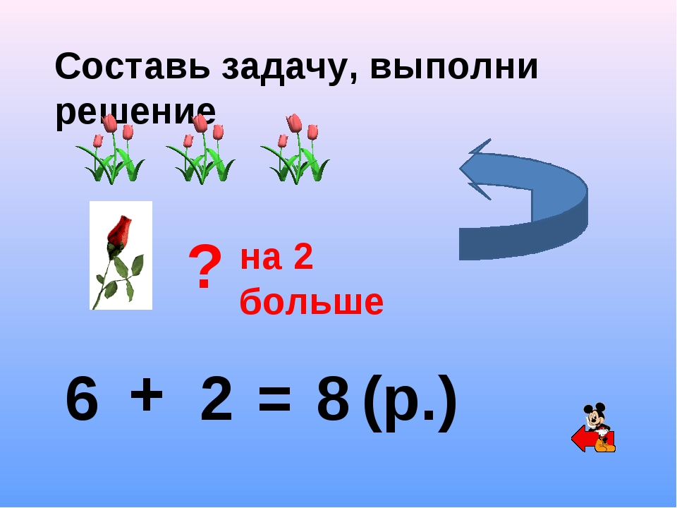 Составь задачу, выполни решение ? на 2 больше 6 + 2 = 8 (р.)