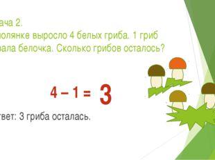 Задача 2. На полянке выросло 4 белых гриба. 1 гриб сорвала белочка. Сколько г