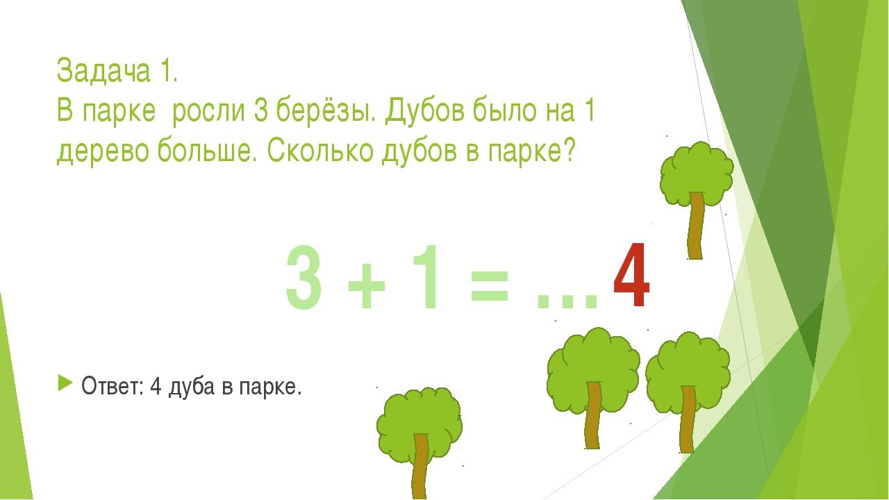 Задача 1. В парке росли 3 берёзы. Дубов было на 1 дерево больше. Сколько дубо...