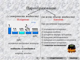 Парообразование ВЫХОД СОДЕРЖАНИЕ > < Испарение Кипение ( c поверхности жидкос