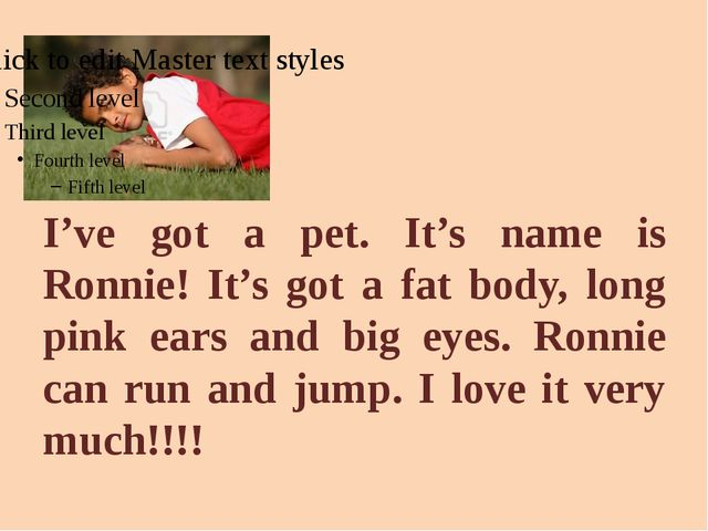 I've got a pet. It's name is Ronnie! It's got a fat body, long pink ears and...
