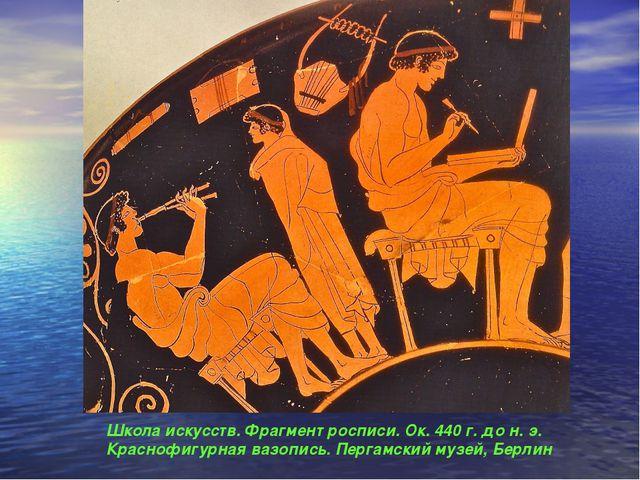 Школа искусств. Фрагмент росписи. Ок. 440 г. до н. э. Краснофигурная вазопись...