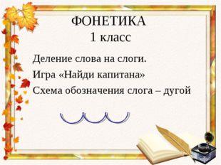 ФОНЕТИКА 1 класс Деление слова на слоги. Игра «Найди капитана» Схема обозначе