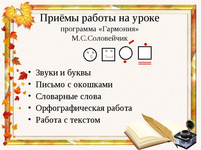 Приёмы работы на уроке программа «Гармония» М.С.Соловейчик Звуки и буквы Пись...