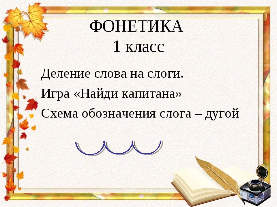 ФОНЕТИКА 1 класс Деление слова на слоги. Игра «Найди капитана» Схема обозначе...
