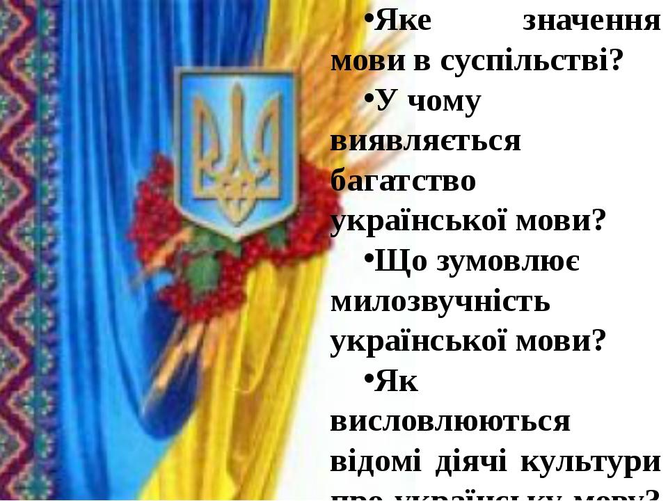 Яке значення мови в суспільстві? У чому виявляється багатство української мо...