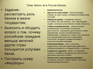 Тема: Много ли в России банков. Задание: рассмотреть роль банков в жизни госу