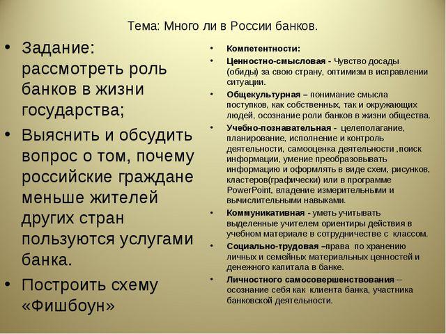 Тема: Много ли в России банков. Задание: рассмотреть роль банков в жизни госу...