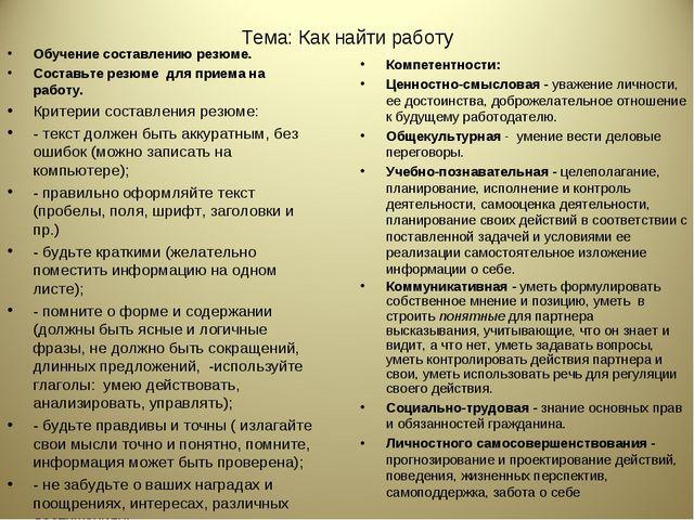 Тема: Как найти работу Обучение составлению резюме. Составьте резюме для прие...