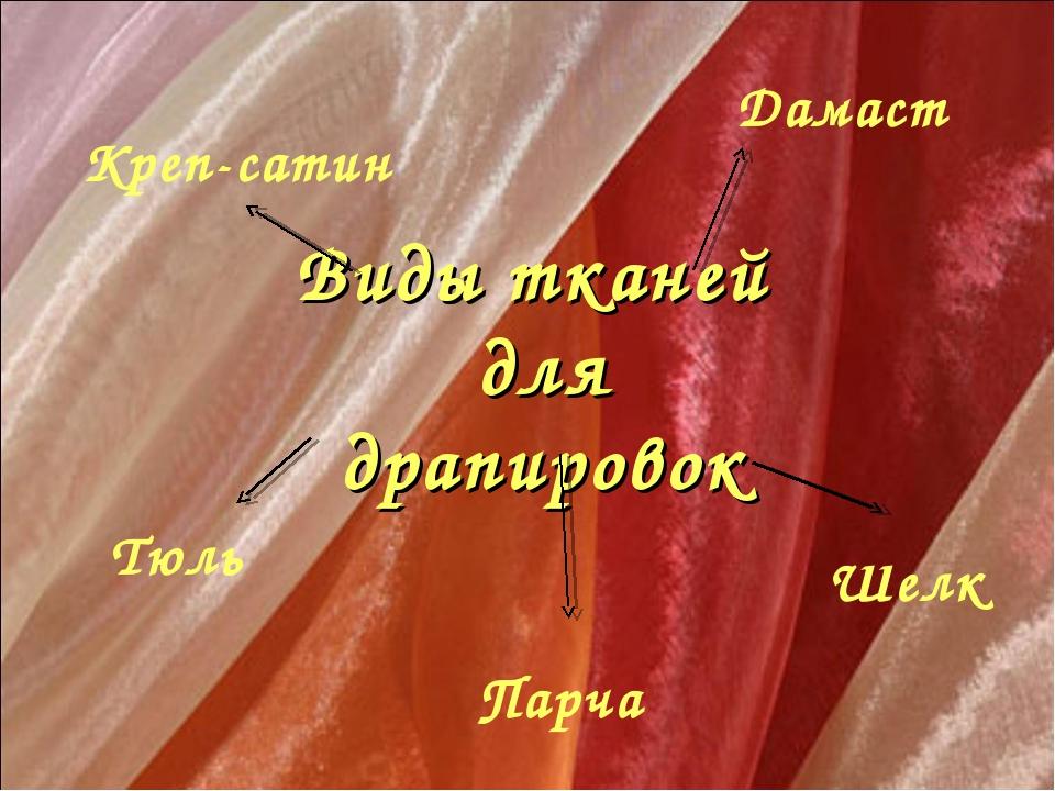 Виды тканей для драпировок Креп-сатин Шелк Дамаст Парча Тюль