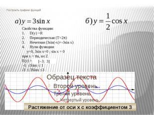 Построить графики функций Свойства функции: D(y) =R Периодическая (Т=2p) Нече