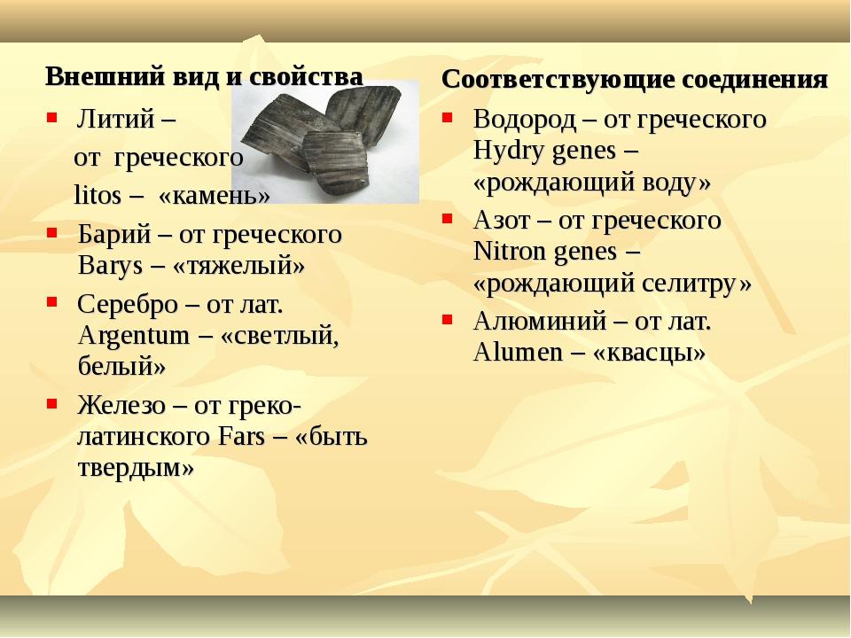 Внешний вид и свойства Литий – от греческого litos – «камень» Барий – от греч...
