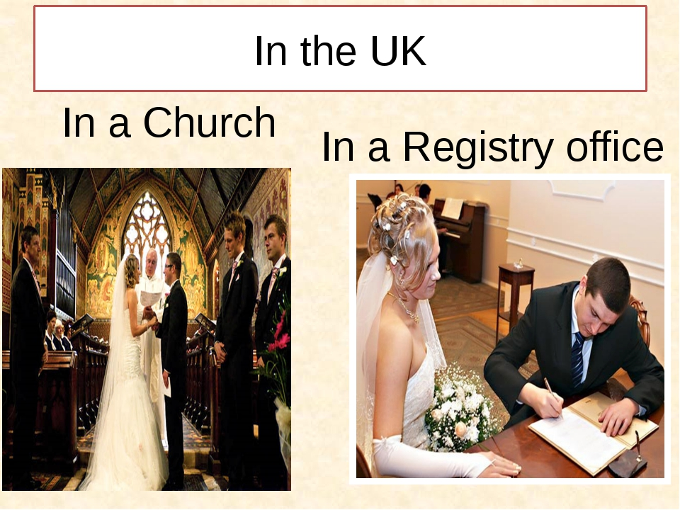 In the UK In a Registry office In a Church