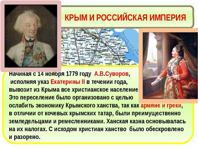 КРЫМ И РОССИЙСКАЯ ИМПЕРИЯ Начиная с 14 ноября 1779 году А.В.Суворов, исполняя...