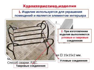 2 15 15 Для изготовления изделия «Подставка под цветы» используется: Металлоп