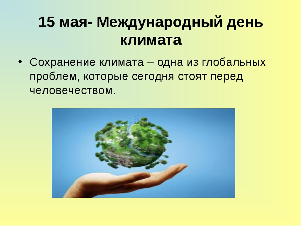 15 мая- Международный день климата Сохранение климата – одна из глобальных п...