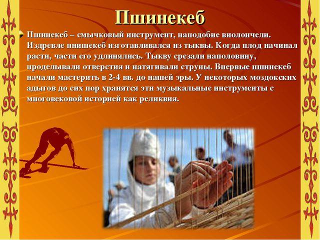 Пшинекеб Пшинекеб – смычковый инструмент, наподобие виолончели. Издревле пниш...
