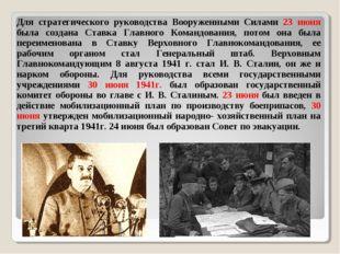 Для стратегического руководства Вооруженными Силами 23 июня была создана Ста