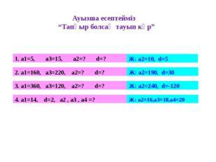 """Ауызша есептейміз """"Тапқыр болсаң тауып көр"""" 1. а1=5, а3=15, а2=? d=? Ж: а2=10"""